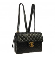 CHANEL Quilted CC Logos Chain Backpack Bag Black Leather