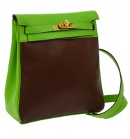 Auth HERMES KELLY ADO PM Backpack Bag Brown Green Amazonia Veau Gulliver