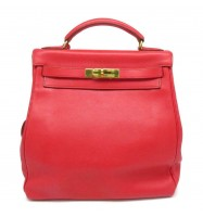 Auth Hermes Kelly Ado Backpack Red Swift Leather Gold Plated Hardware