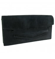 Authentic HERMES Faco Clutch Bag Purse Black Suede Leather