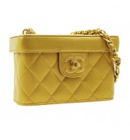 CHANEL Quilted CC Vanity Chain Shoulder Bag Purse Gold Leather