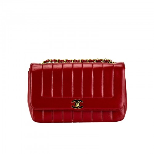 Chanel Red Lambskin Lady D Classic Flap
