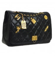 CHANEL Quilted CC Jumbo Single Chain Shoulder Bag Black Leather