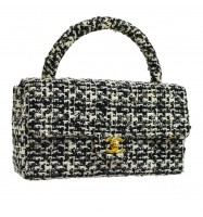 CHANEL Quilted CC Logos Hand Bag Black White Tweed Spangle