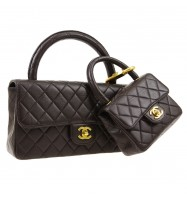 CHANEL Quilted CC Logos 2 in 1 Hand Bag Set Dark Brown Leather