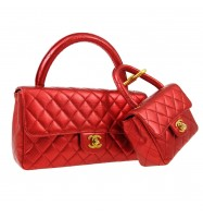 CHANEL Quilted CC Logos 2 in 1 Hand Bag Set