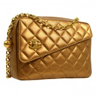 CHANEL Quilted CC Single Chain Shoulder Bag Bronze Leather