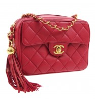 CHANEL Quilted Fringe CC Single Chain Shoulder Bag Red Leather