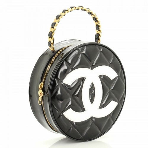 Chanel Round Top Handle Vanity Case Quilted Patent