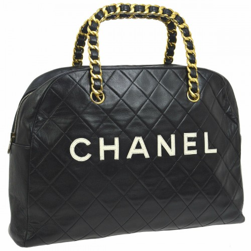 CHANEL Quilted CC Chain Handle Hand Bag Black Leather