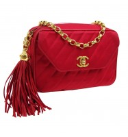 CHANEL Quilted Fringe CC Purse Red Satin