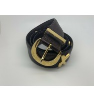 PALOMA PICASSO SIGNED GOLD BUCKLE BROWN LEATHER BELT 4