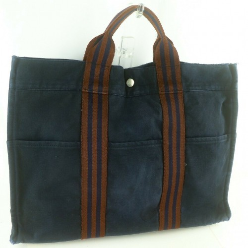 Auth HERMES FOURRE TOUT MM Tote Bag Canvas Navy Brown