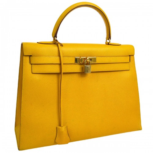 Authentic HERMES KELLY 35 Hand Bag Yellow