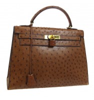 HERMES KELLY 32 SELLIER / ostrich/ brown